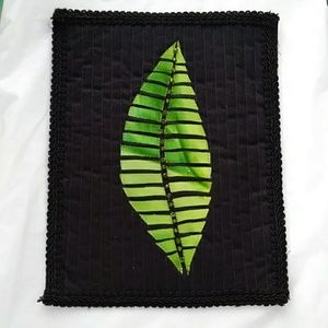 Other - Art Quilt Wall Hanging Jungle Leaf Beaded